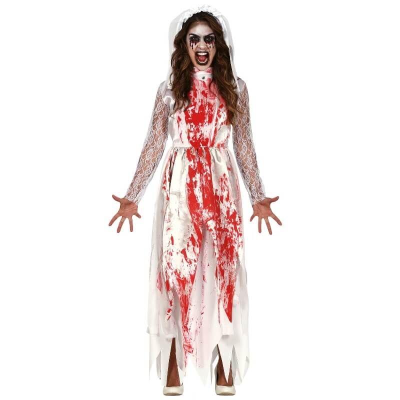 Maquillage Halloween Mariee.Deguisement De Zombie Robe De Mariee Ensanglantee Taille Au Choix Jour De Fete Zombie Themes Halloween