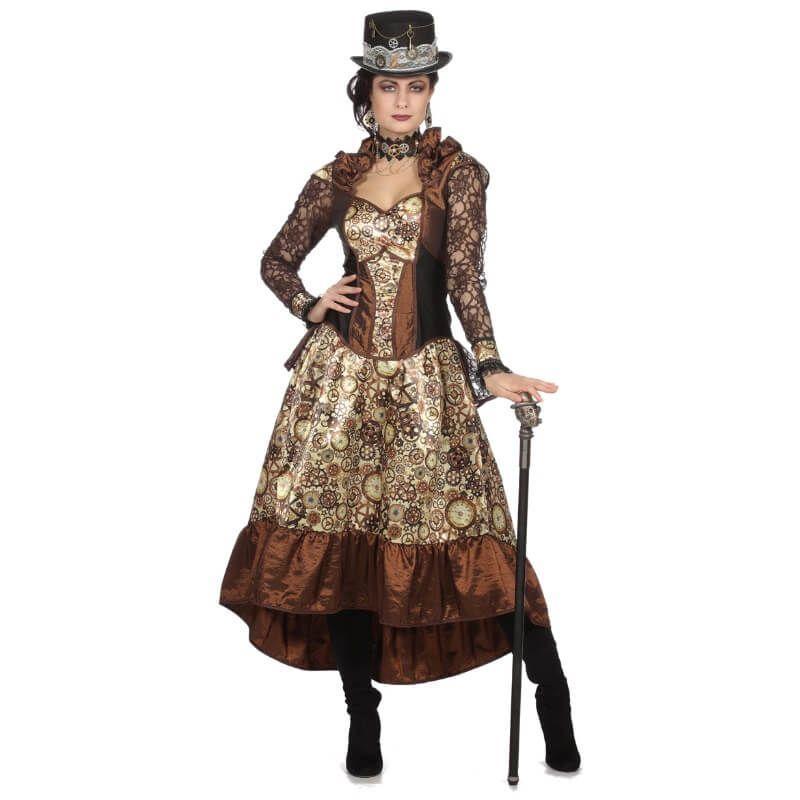 Vous me croyez morte ? Eh bien non ! Deguisement-femme-robe-steampunk-rouages-marron-taille-au-choix