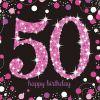 16 Serviettes 50 Ans - Rose / Noir