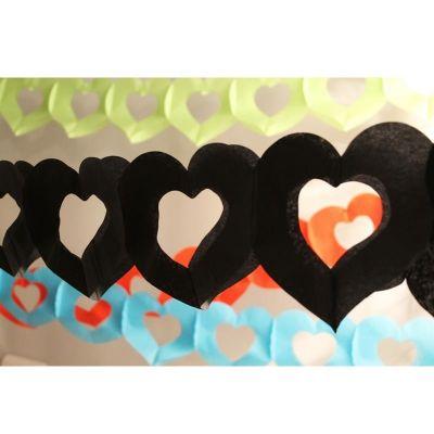 Guirlande de Coeurs en Papier - Noir