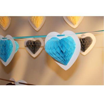 Guirlande Coeur sur Ruban - Bleu Ciel