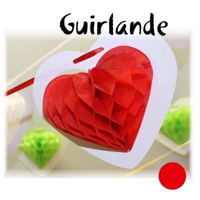 Guirlande Coeur sur Ruban - Rouge