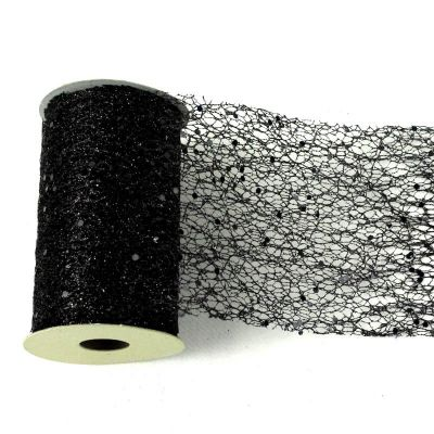 Ruban de table Glitter - Noir - 10 cm x 5 M