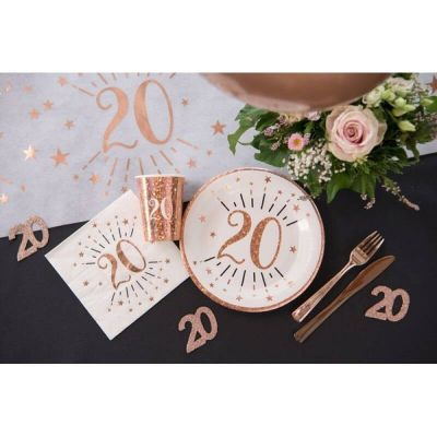 10 assiettes en carton de la collection joyeux anniversaire étincelant rose gold âge au choix | jourdefete.com