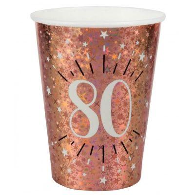 10 gobelets en carton de la collection joyeux anniversaire étincelant rose gold âge au choix | jourdefete.com