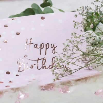 "Sachet 16 serviettes en papier ""Happy Birthday Rose Gold"""