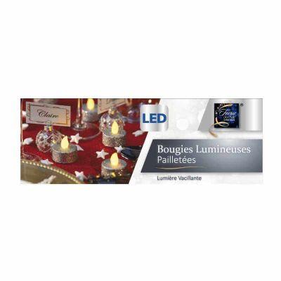 6 Bougies Chauffe-Plat à LED - Argent pailleté