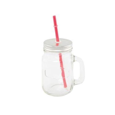 Jar en Verre avec Paille Rouge