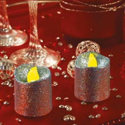 2 Petites Bougies LED - Paillettes Argent