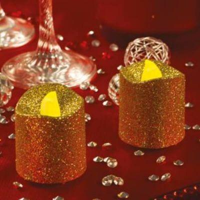 2 Petites Bougies LED - Paillettes Or