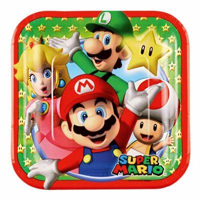 8 Petites assiettes carrées Super Mario