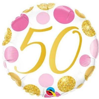 Ballon metallise 46 cm diametre - 50 ans - ballon geant gonflable a l'helium   jourdefete.com