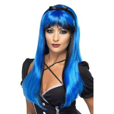 Perruque Halloween Sorcière Luxe Noir et Bleu