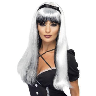 Perruque Halloween Sorcière Luxe Noir et Argent