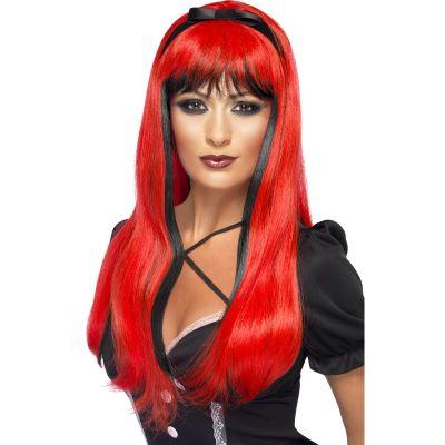 Perruque Halloween Sorcière Luxe Noir et Rouge