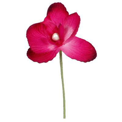 6 Fleurs Orchidées en tissu - Fuchsia