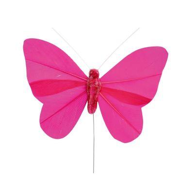 6 Papillons sur Tige - Fuchsia
