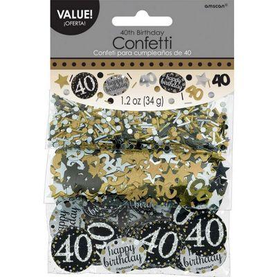 Trio de Confettis 40 Ans - Or / Argent
