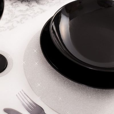 4 Sets de Table Pailletés - Argent