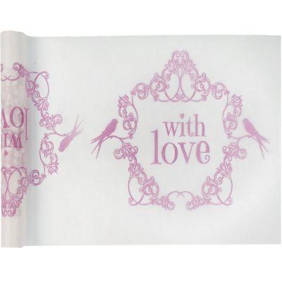 """Chemin de table """"With Love"""" Vintage 30 cm x 5 m rose"""