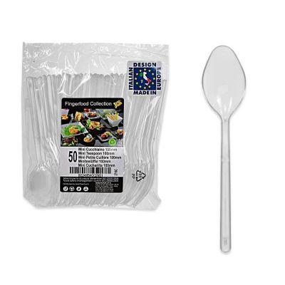 50 mini petites cuilleres plastique - transparent | jourdefete.com
