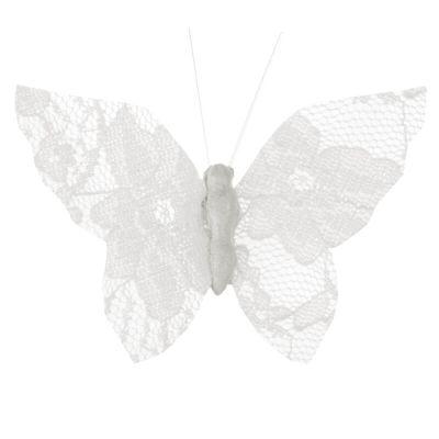 4 Papillon en dentelle sur pince - Blanc