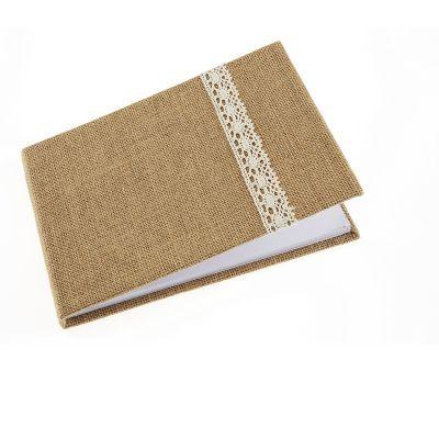 Livre d'Or Couverture Toile de Jute Liseret Dentelle - 32p