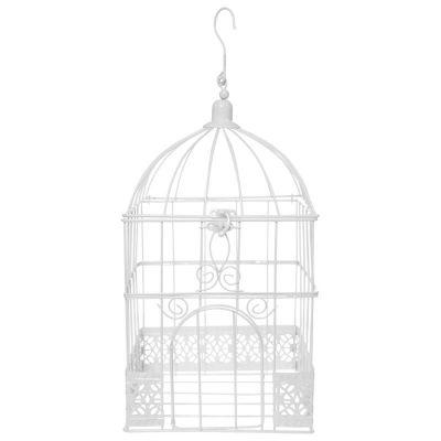 Urne blanche forme Cage à oiseaux