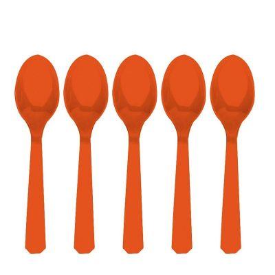 10 Cuillères en Plastique - Orange
