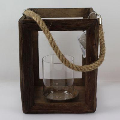 Lanterne ouverte en bois avec aussière - Grand Modèle