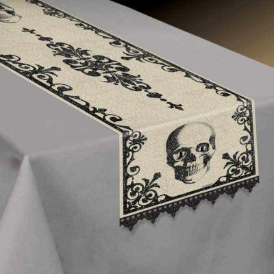 "Chemin de table en tissu tête de mort - ""witch doctor"""