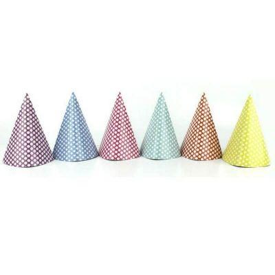 lot de 6 chapeaux pointus happy color   jourdefete.com
