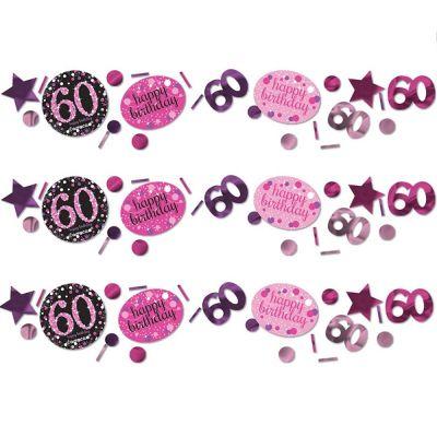 Trio de Confettis 60 Ans - Rose / Noir