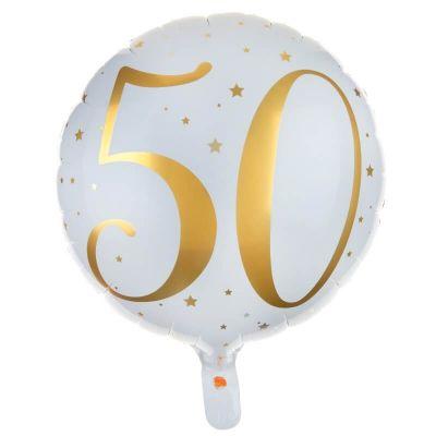 Ballon Anniversaire - Blanc et Or - 50 ans   JOURDEFETE.COM