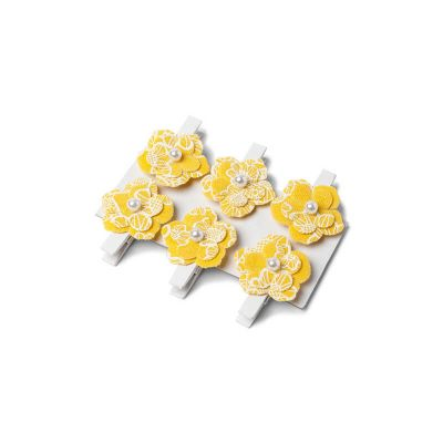 6 Pinces fleurs Gypsy en lin - Jaune