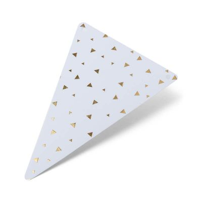 5 Fanions en carton à triangles dorés