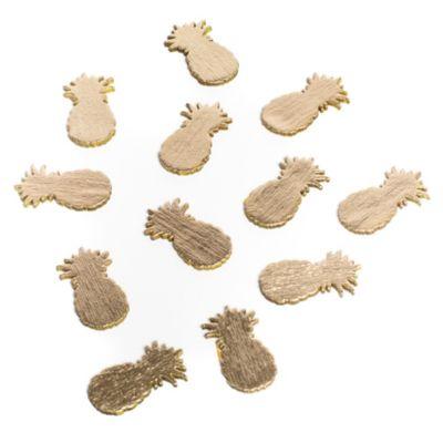 Sachet de 12 confettis de table ananas en bois doré