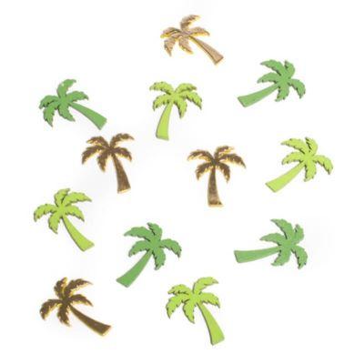 Sachet de 12 confettis de table palmiers en bois - Or et Vert