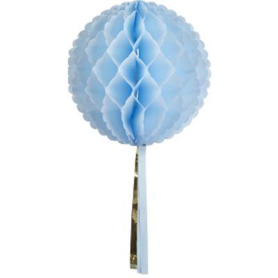 Boule alvéolée à Tassel 30 cm - Bleu Ciel