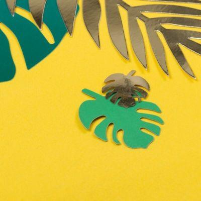 Sachet de 12 marque-places Feuilles Tropicales - Vert et Or