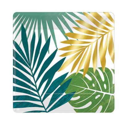 assiettes-feuilles-plamier-tropical-carre|jourdefete.com