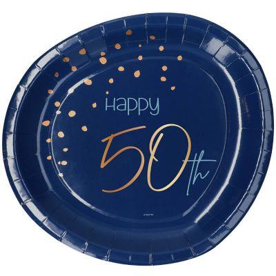 assiettes en carton bleu et or pour anniversaire | jourdefete.com