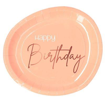 assiettes en carton roses pour anniversaire | jourdefete.com
