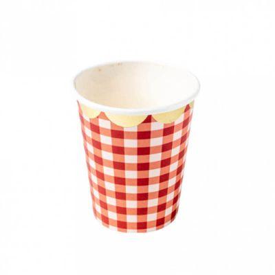 gobelets-carton-vaisselle-jetable-vichy-guinguette-party-verre | jourdefete.com