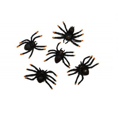 6 Araignées en Plastique - Décoration de Table Halloween