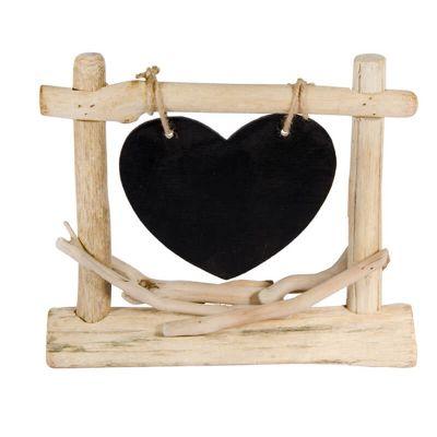 Centre de table ardoise coeur en bois
