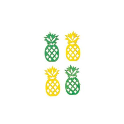 Sachet de 18 Confettis de table Ananas Bois - Jaune et Vert