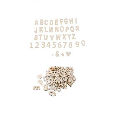 120 Pièces en Bois Adhésives - Lettres, Chiffres et Signes