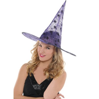 Chapeau de Sorcière Violet pour Adulte - Toiles D'araignées