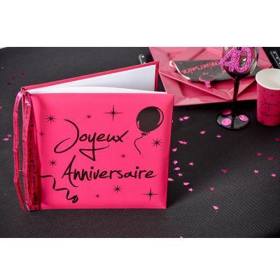 "Livre d'Or ""Joyeux Anniversaire"" - Fuchsia"